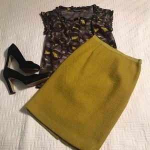 Boden Mustard Wool Pencil Skirt